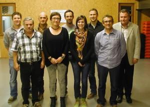 (hinten v. l.): Markus Borho, Gotthard Schwörer, Nicolai Vollmer, Thomas Obert, Vorsitzender Hans-Peter Steiner. (vorne v.l.): Herbert Baumann, Judith Marx, Diana Gutmann, Josef Flach.